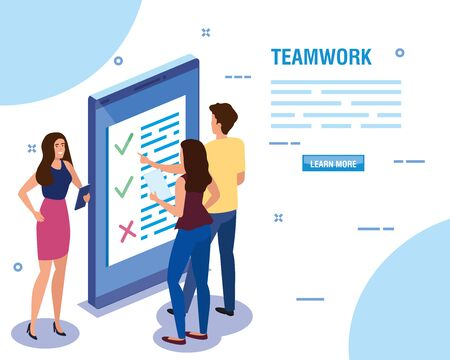 teamwork people with smartphone device vector illustration design  イラスト・ベクター素材