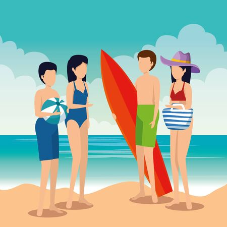 women and men wearing swimsuit with surfboard and ball to summer time vector illustration  イラスト・ベクター素材