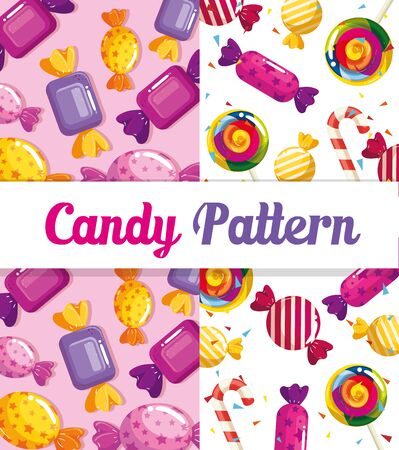 candy pattern with delicious caramels vector illustration design