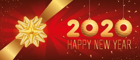 poster of happy new year 2020 with bow ribbon vector illustration design