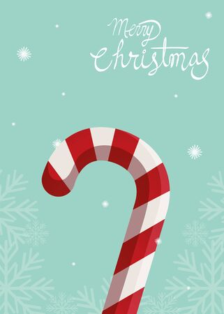 merry christmas poster with sweet cane vector illustration design 向量圖像