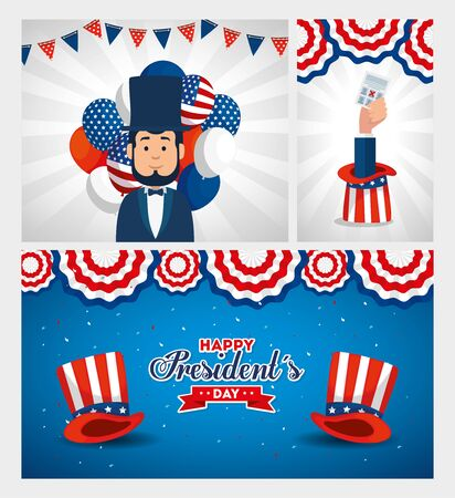 Man avatar cartoon design, Usa happy presidents day united states america independence nation us country and national theme Vector illustration