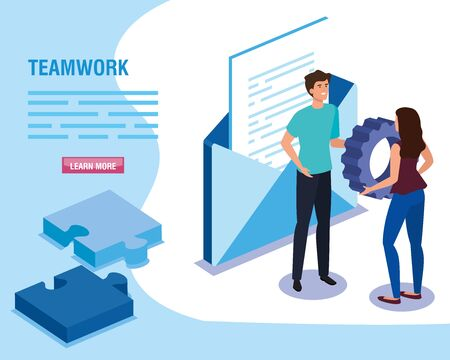 teamwork people with envelope and puzzle pieces vector illustration design