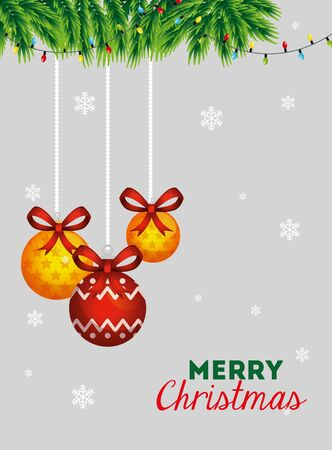 merry christmas poster with decorative balls hanging vector illustration design 向量圖像