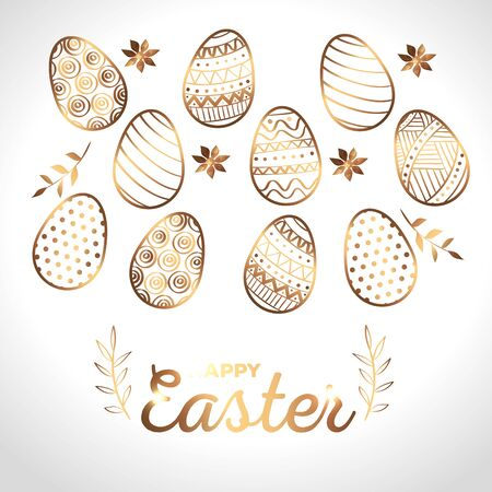 happy easter card golden with eggs decorated and flowers vector illustration design