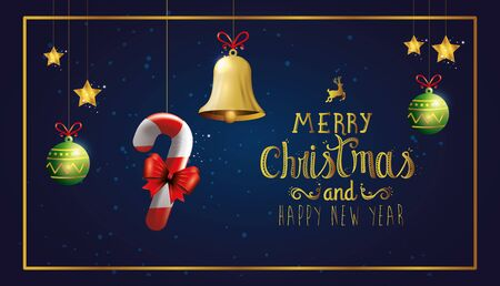 poster of merry christmas and happy new year with decoration hanging vector illustration design