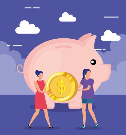 businesswomen with coin and piggy to save money over purple background, vector illustration