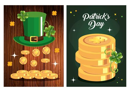 set poster saint patrick day with decoration vector illustration designicon