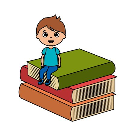 little boy student with books character vector illustration design Illustration