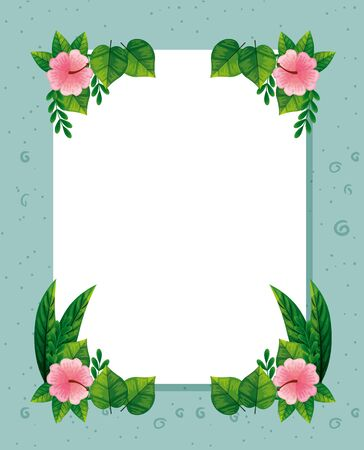 frame of cute flowers pink with branches and leafs vector illustration design