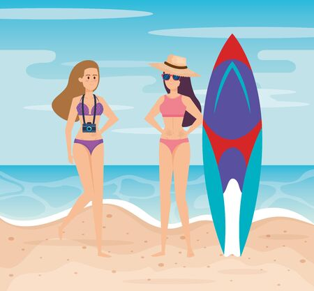 woman wearing swimsuit with hat and camera with surfboard to summer time vector illustration