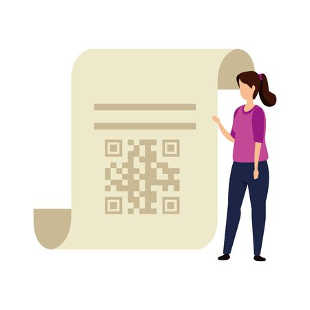 woman and paper with qr code isolated icon vector illustration design Ilustracja