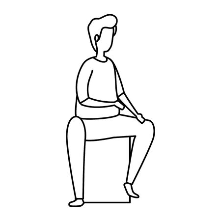 young man sitting line style icon vector illustration design