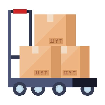 Boxes over cart design, Delivery logistics transportation shipping service warehouse industry and global theme Vector illustration Ilustracja