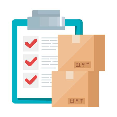 Boxes and list document design, Delivery logistics transportation shipping service warehouse industry and global theme Vector illustration