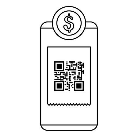 smartphone device with scan code qr and coin vector illustration design Ilustracja