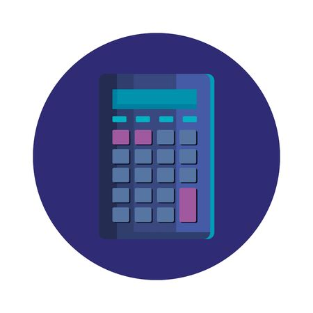 calculator math in frame circular isolated icon vector illustration design