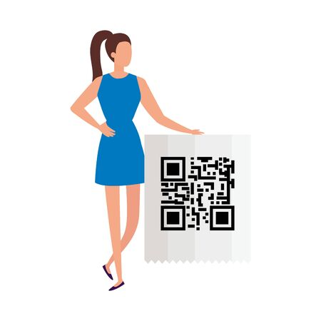 businesswoman with code qr isolated icon vector illustration design