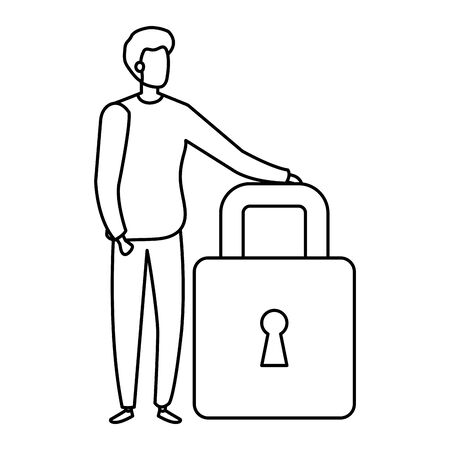 businessman elegant with padlock isolated icon vector illustration design 写真素材 - 143302811