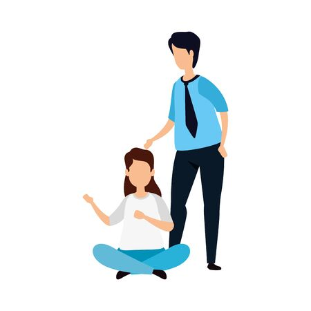 young couple avatar character icon vector illustration design