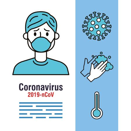 covid 19 infographic with person sick and icons vector illustration design