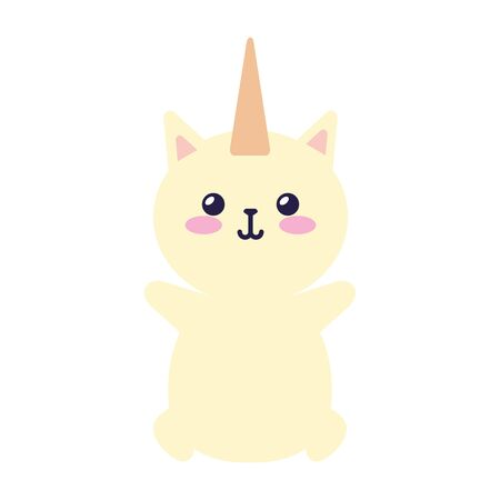cute cat unicorn fantasy icon vector illustration design Ilustração