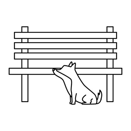 dog with wooden chair of park vector illustration design