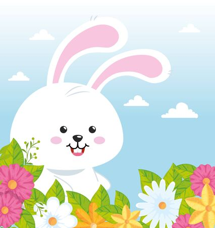 cute rabbit with cute flowers vector illustration design