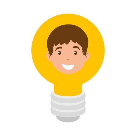 head of cute little boy in light bulb vector illustration design