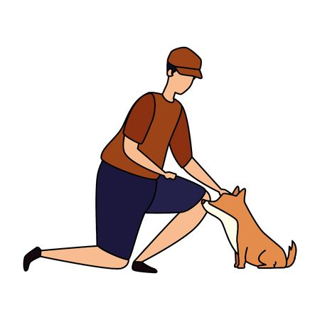 man with dog isolated icon vector illustration design
