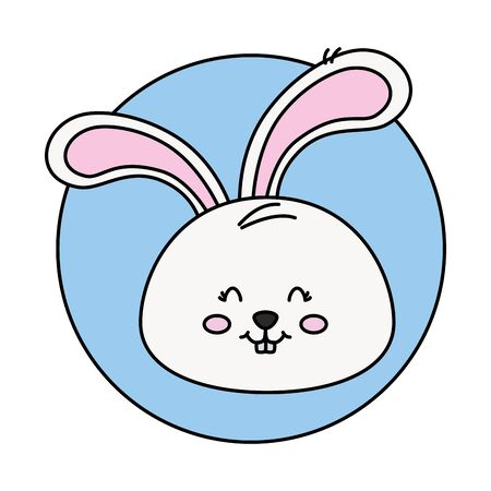 head of cute rabbit in frame circular vector illustration design