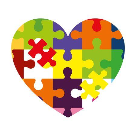 heart of puzzle pieces icon vector illustration design 矢量图像