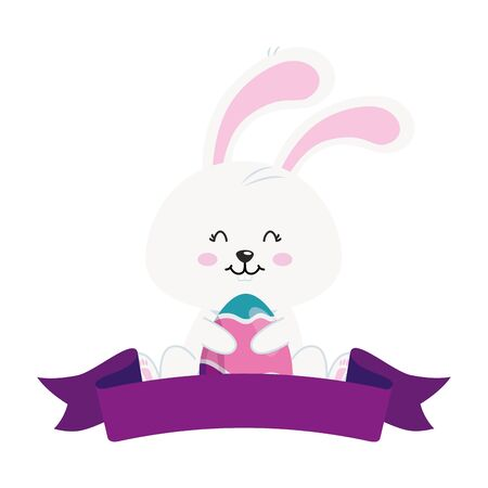 cute rabbit with egg easter and ribbon vector illustration design 矢量图像