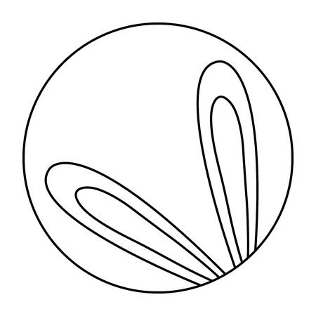 cute ears of rabbit in frame circular isolated icon vector illustration design 矢量图像