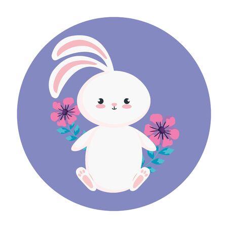 cute rabbit with flowers in frame circular vector illustration design 矢量图像