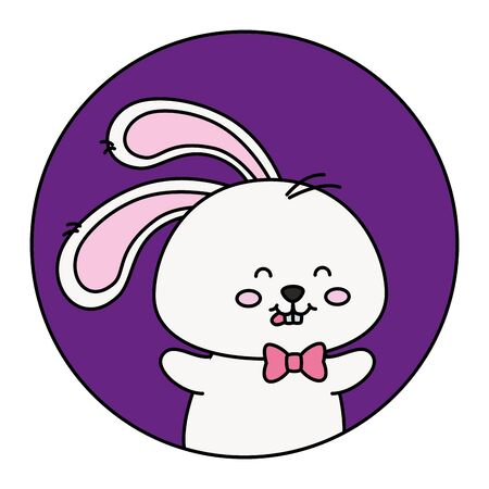 cute rabbit animal in frame circular vector illustration design 矢量图像
