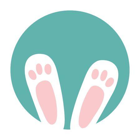 feets of rabbit in frame circular vector illustration design 矢量图像