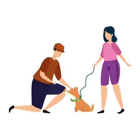 couple with dog isolated icon vector illustration design 向量圖像