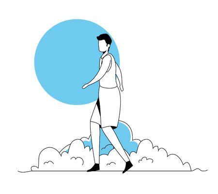 man walking in park landscape vector illustration design