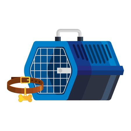 pet carry box with collar for dog isolated icon vector illustration design 向量圖像