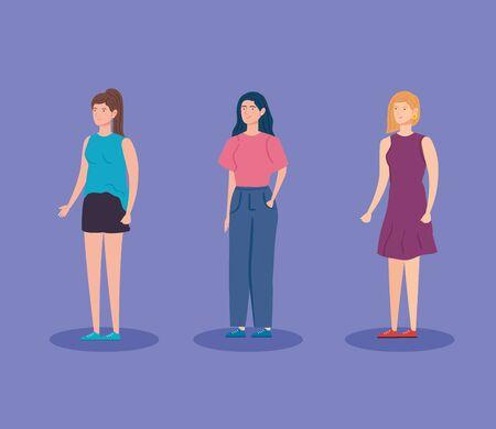group women avatar character icon vector illustration design