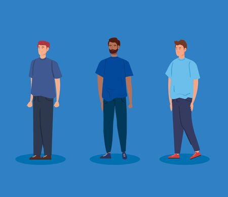 group of young men avatar character icon vector illustration design