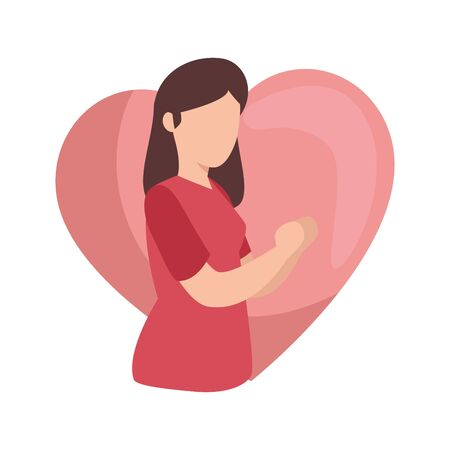 young woman with heart avatar character icon vector illustration design