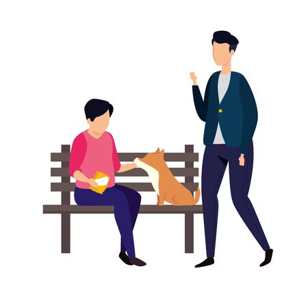 men with wooden chair of park and dog vector illustration design