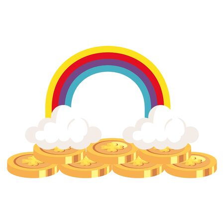 coin with clover and rainbow isolated icon vector illustration design