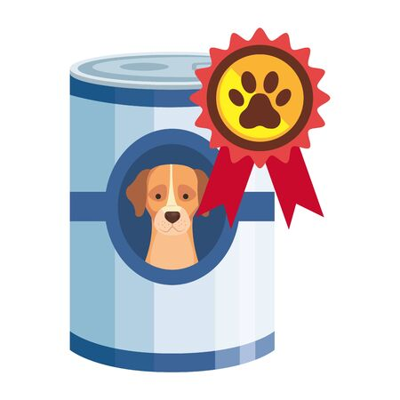 food for dog in can with stamp vector illustration design