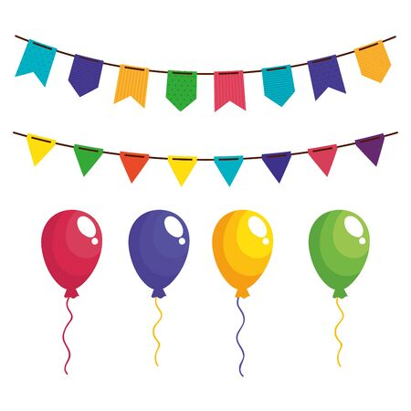 set garlands hanging with balloons helium vector illustration design