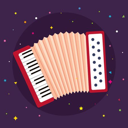 accordion instrument musical in purple background vector illustration design  イラスト・ベクター素材