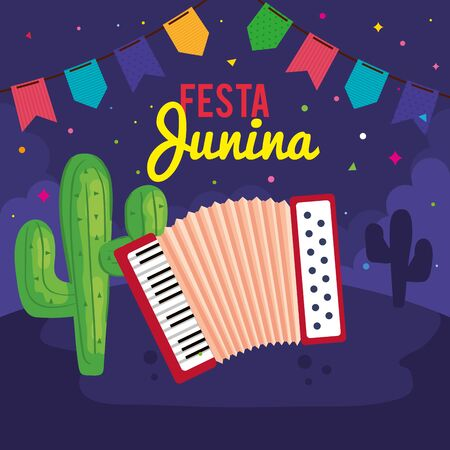 festa junina poster with accordion and icons traditional vector illustration design