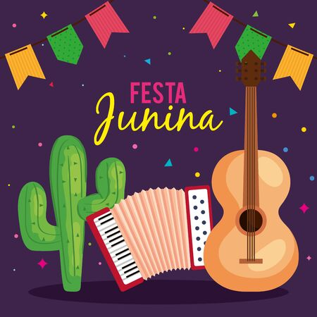 festa junina poster with guitar and icons traditional vector illustration design